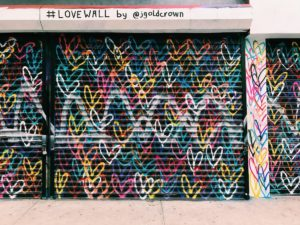 Mural with hearts all over it